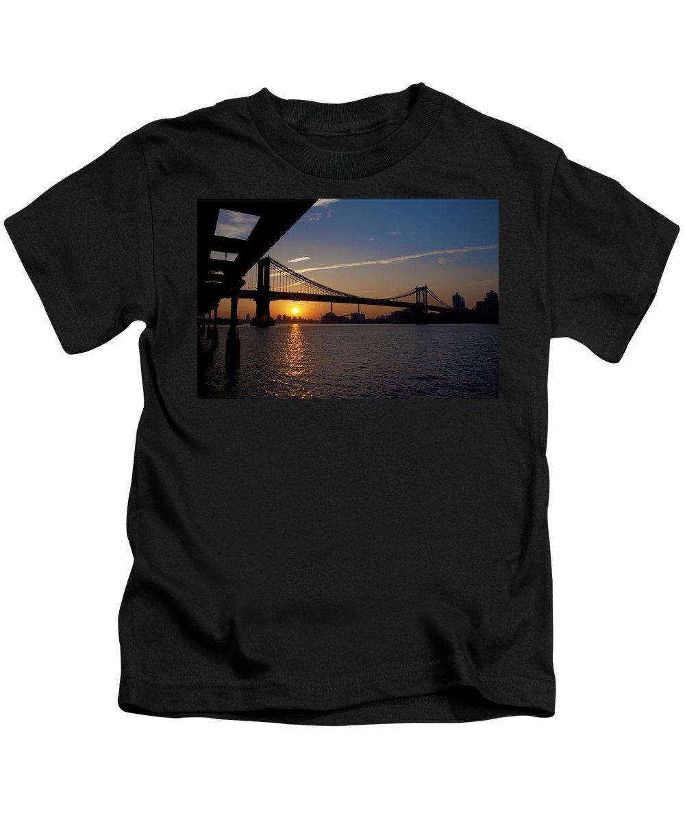 New York City Sunrise Kids T-Shirt featuring the photograph New York City Sunrise by Bill Cannon