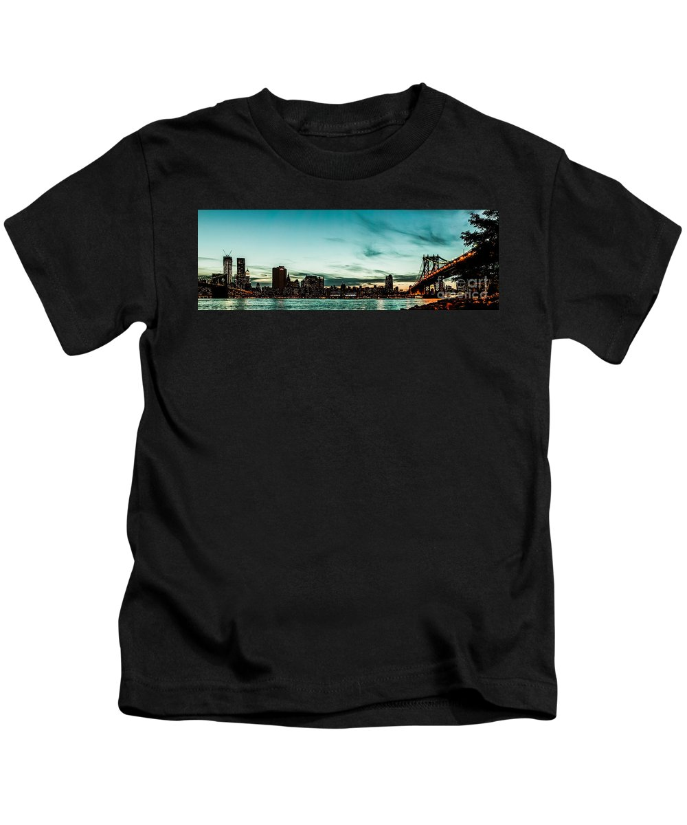 Manhatten Kids T-Shirt featuring the photograph New Yorks Skyline At Night Ice 1 by Hannes Cmarits