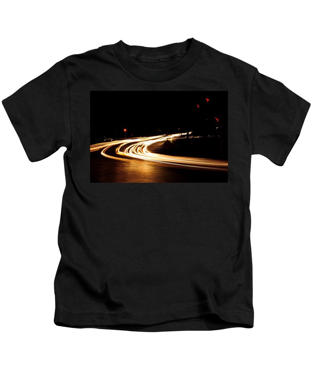 Kids T-Shirt featuring the photograph Night Traffic by Mark Valentine