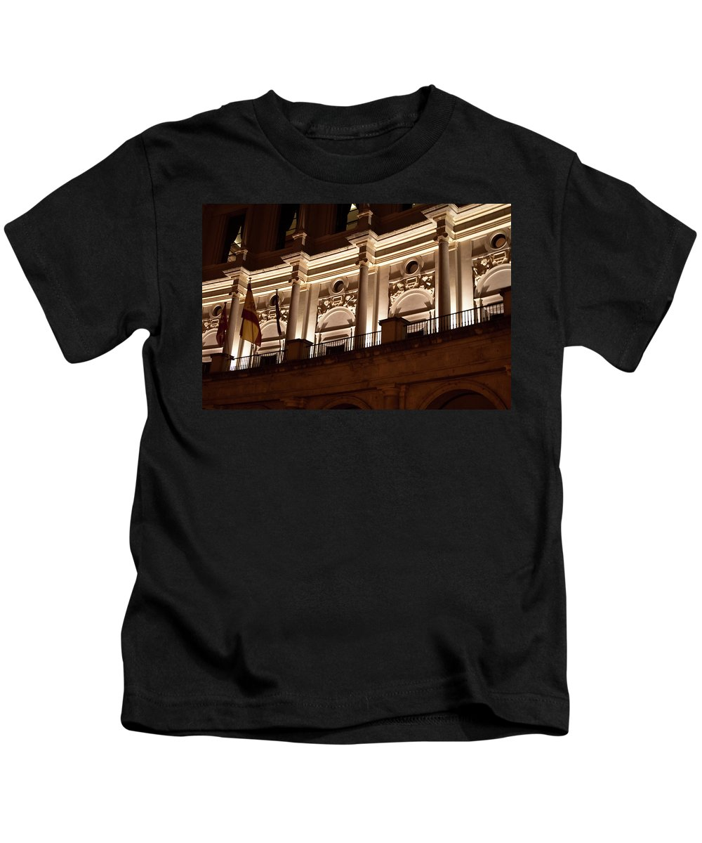 Madrid Kids T-Shirt featuring the photograph Nighttime Palace by Lorraine Devon Wilke