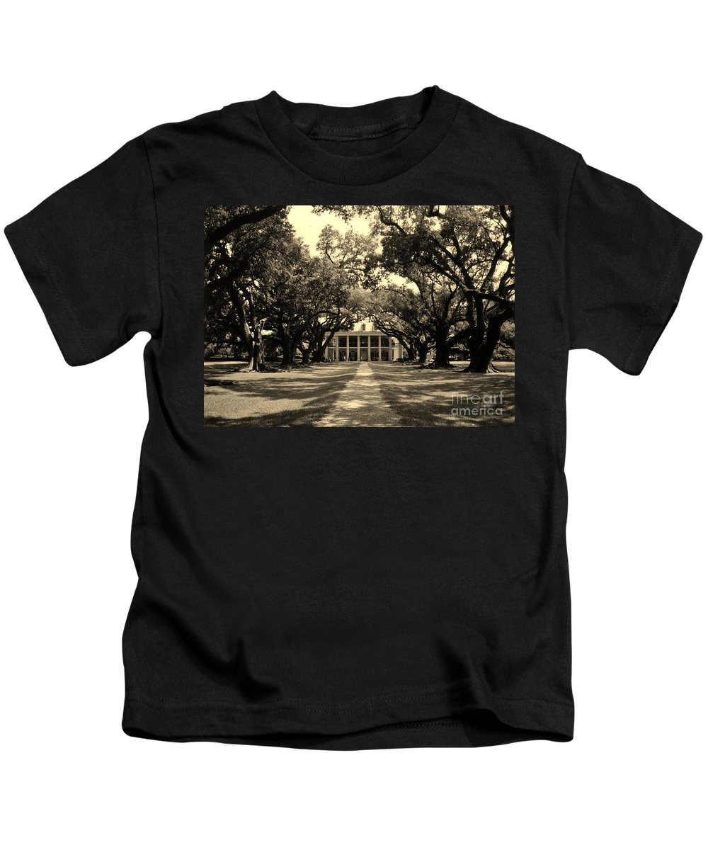 Plantation Kids T-Shirt featuring the photograph Oak Alley Sepia by John Malone