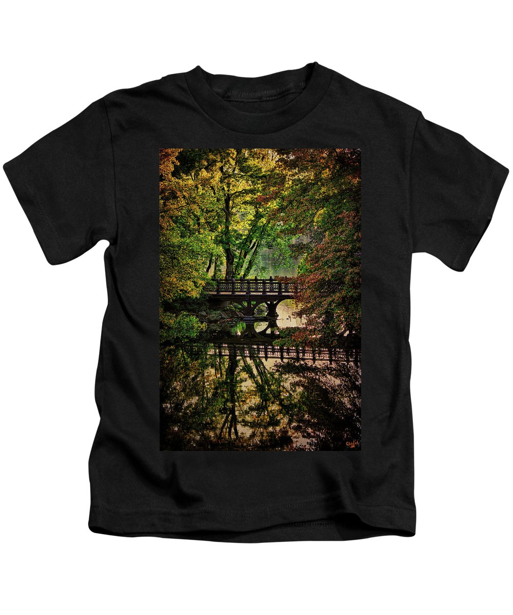 Autumn Kids T-Shirt featuring the photograph Oak Bridge In Fall by Chris Lord