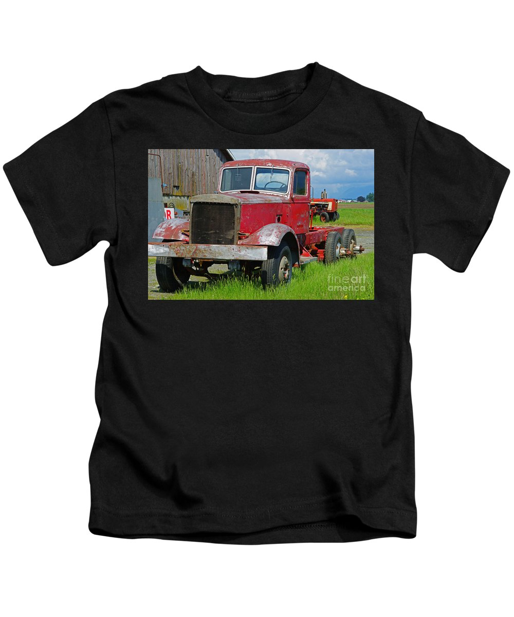 Trucks Kids T-Shirt featuring the photograph Old Rusted Semi-truck by Randy Harris
