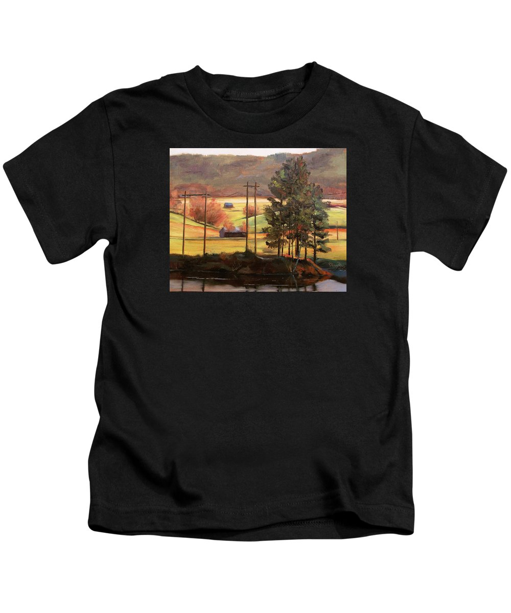 Landacape Kids T-Shirt featuring the painting On The Other Side by Mona Davis