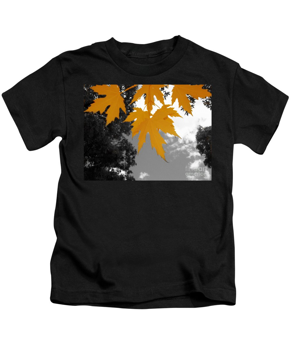 Scene Kids T-Shirt featuring the photograph Orange Maple Leaves by Mary Mikawoz
