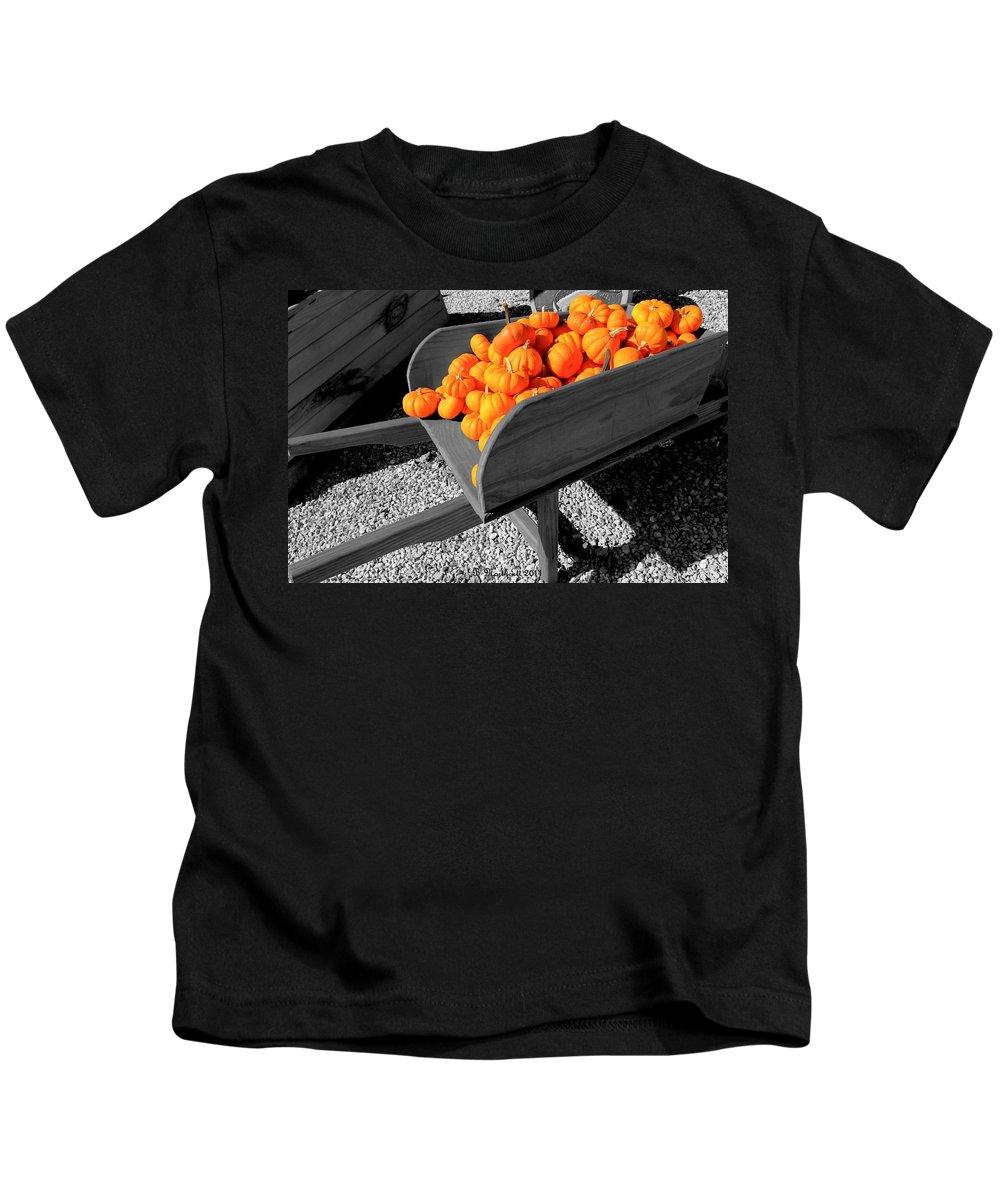 Pumpkin Kids T-Shirt featuring the photograph Orange Pumpkin Harvest by Betty Northcutt