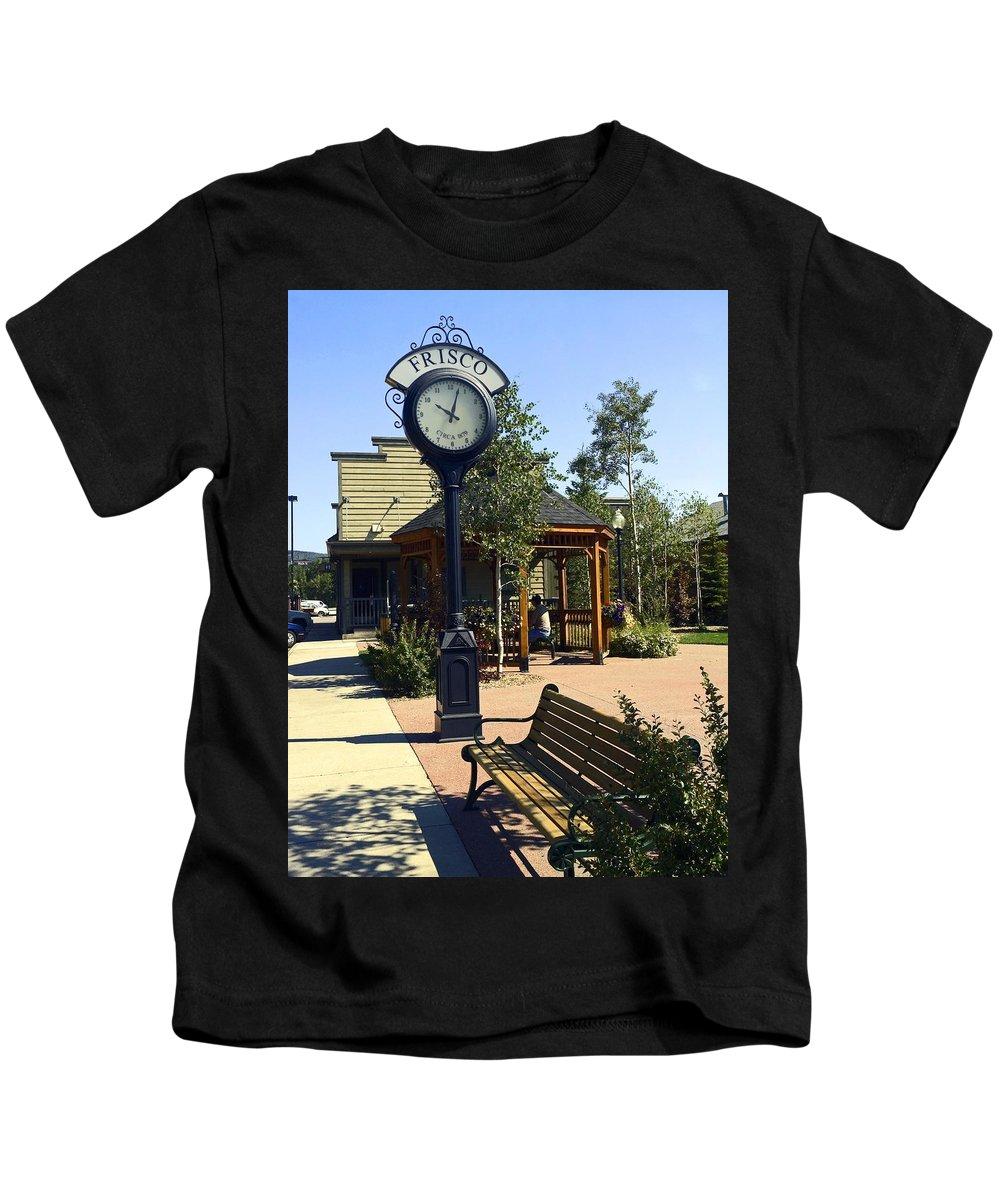 Outdoor Antique Clock Kids T-Shirt featuring the photograph Outdoor Antique Clock by Sally Weigand