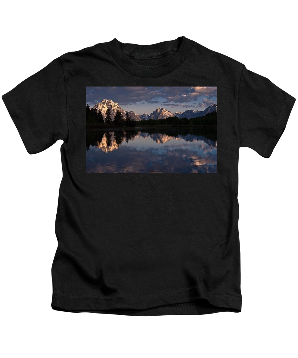 Mount Moran Kids T-Shirt featuring the photograph Oxbow Bend by Greg Nyquist