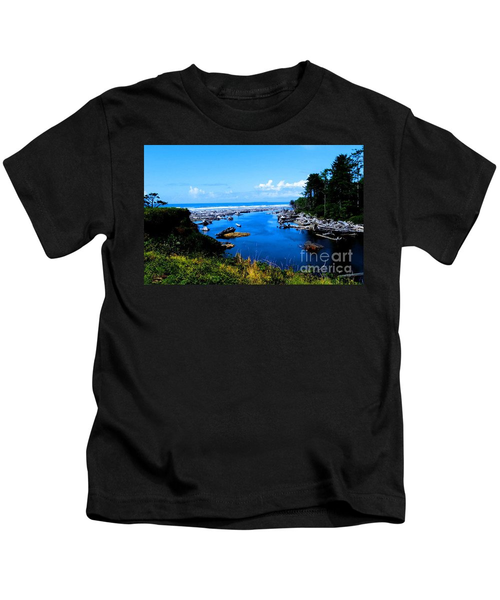 Pacific Seascape Kids T-Shirt featuring the photograph Pacific Escape by Tap On Photo