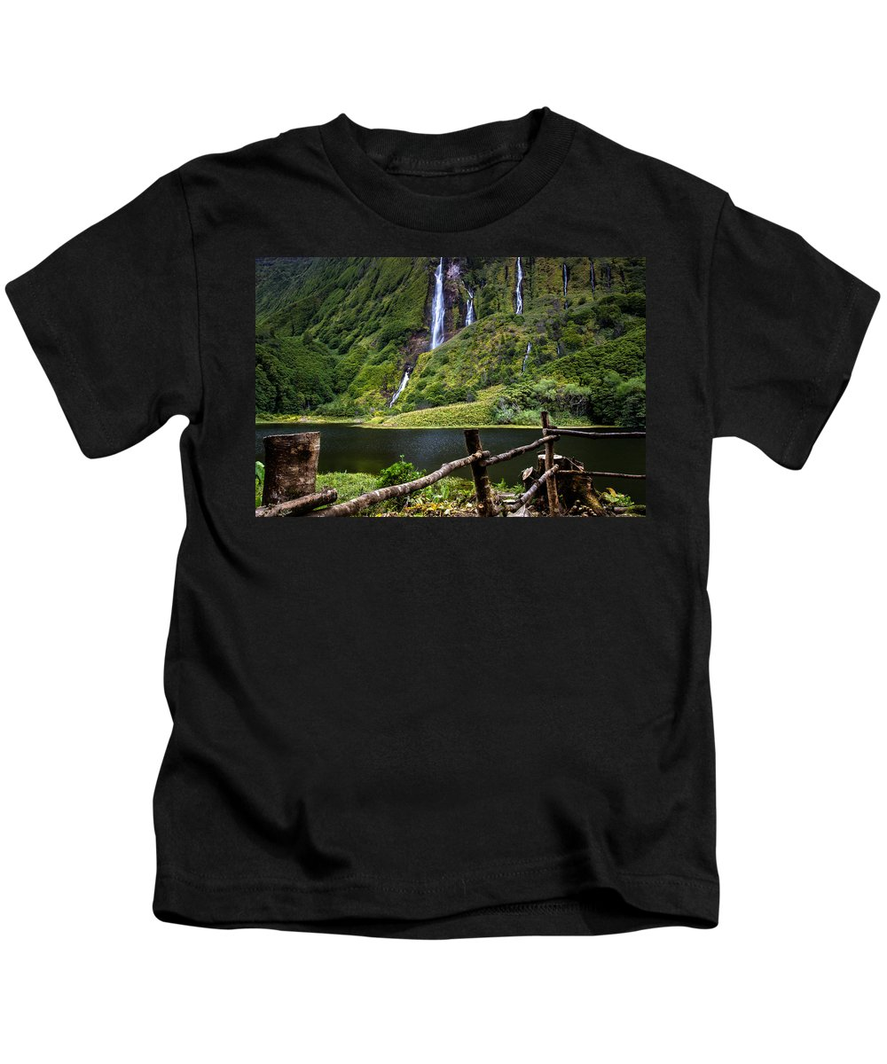 Waterfalls Kids T-Shirt featuring the photograph Paradise by Edgar Laureano