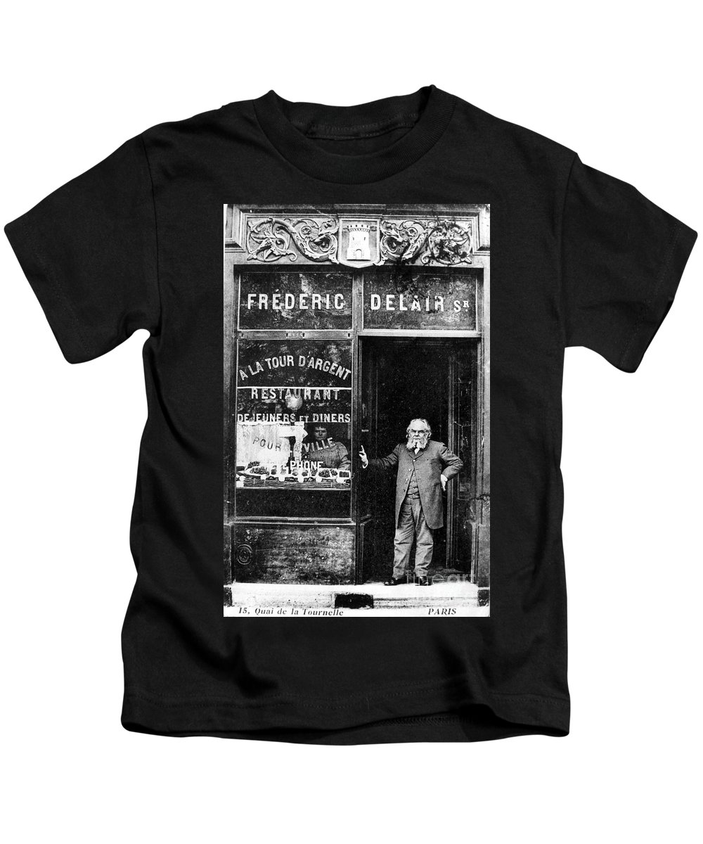 1890s Kids T-Shirt featuring the photograph Paris Restaurant, 1890s - To License For Professional Use Visit Granger.com by Granger
