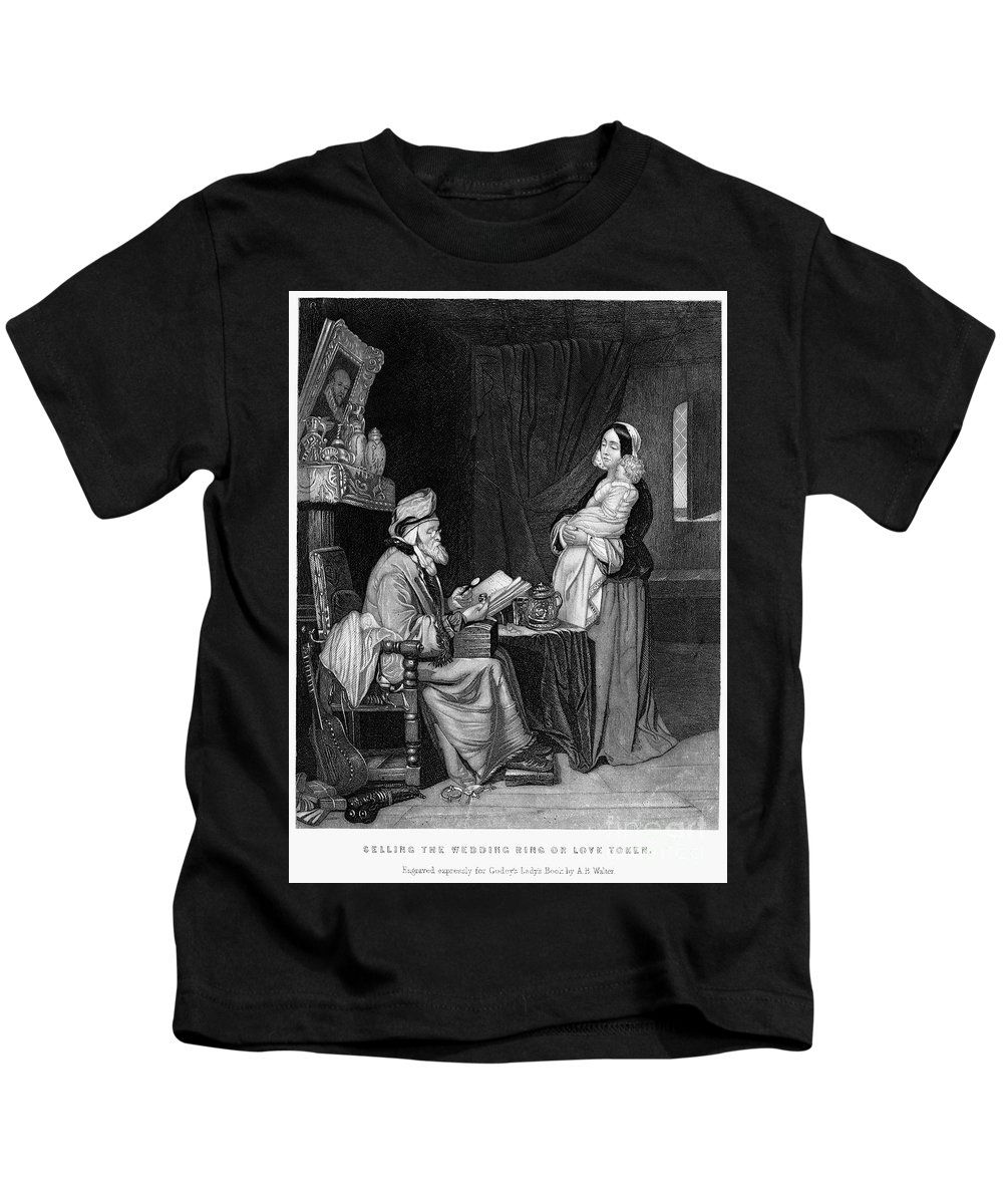 19th Century Kids T-Shirt featuring the photograph Pawning, 19th Century by Granger