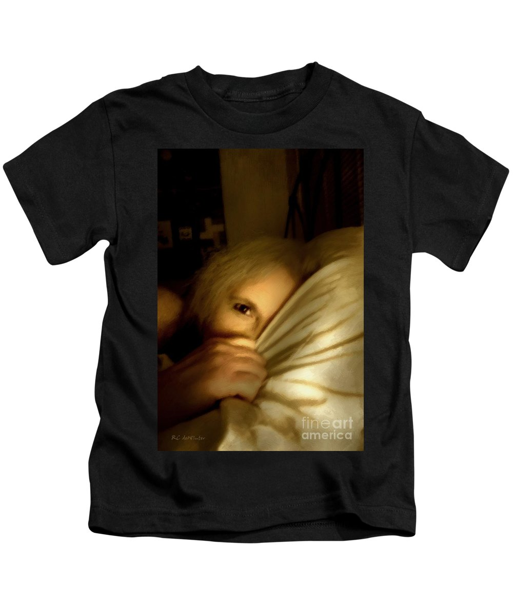 Woman Kids T-Shirt featuring the painting Peekaboo By Candlelight by RC DeWinter