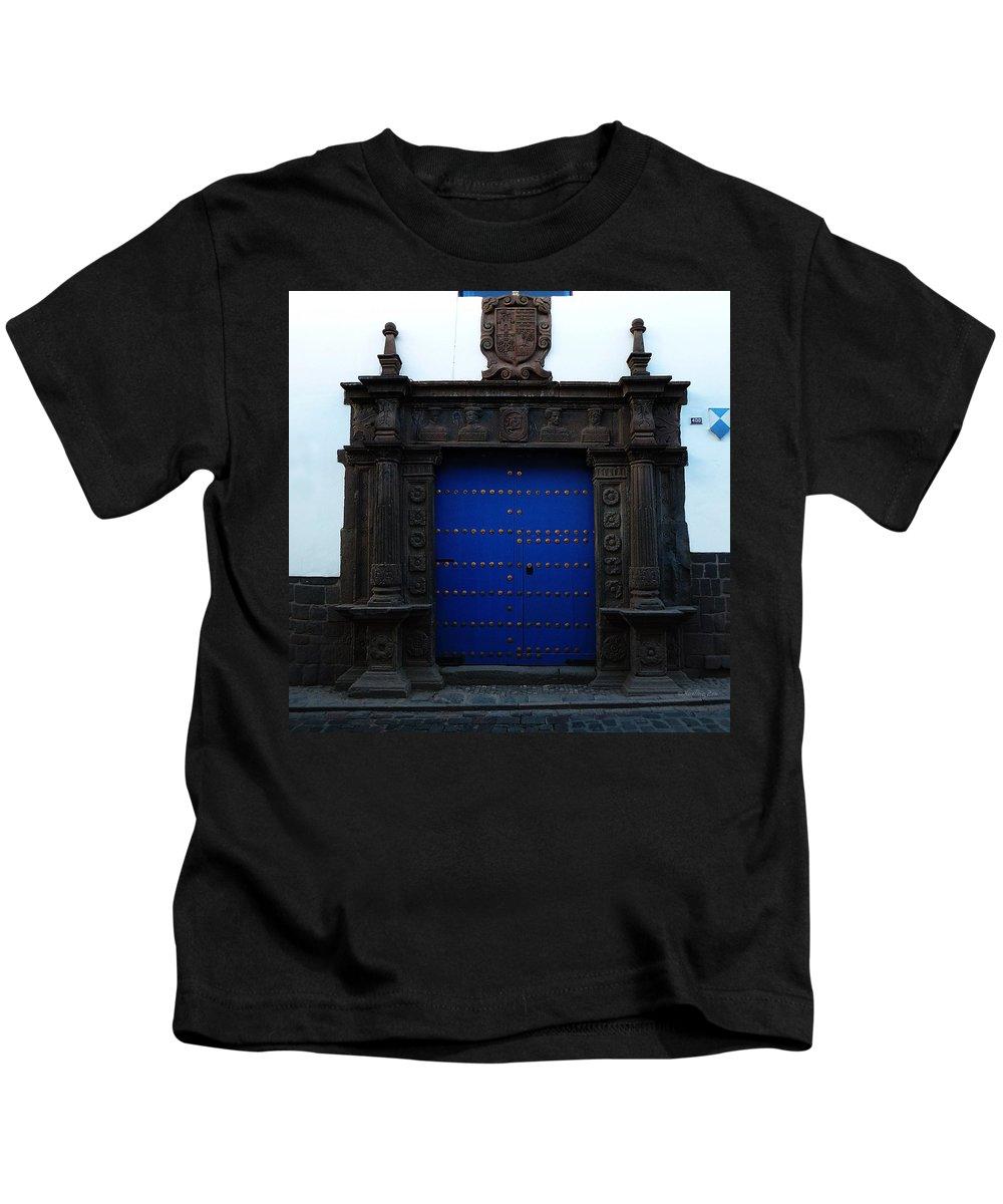 Door Kids T-Shirt featuring the photograph Peruvian Door Decor 12 by Xueling Zou