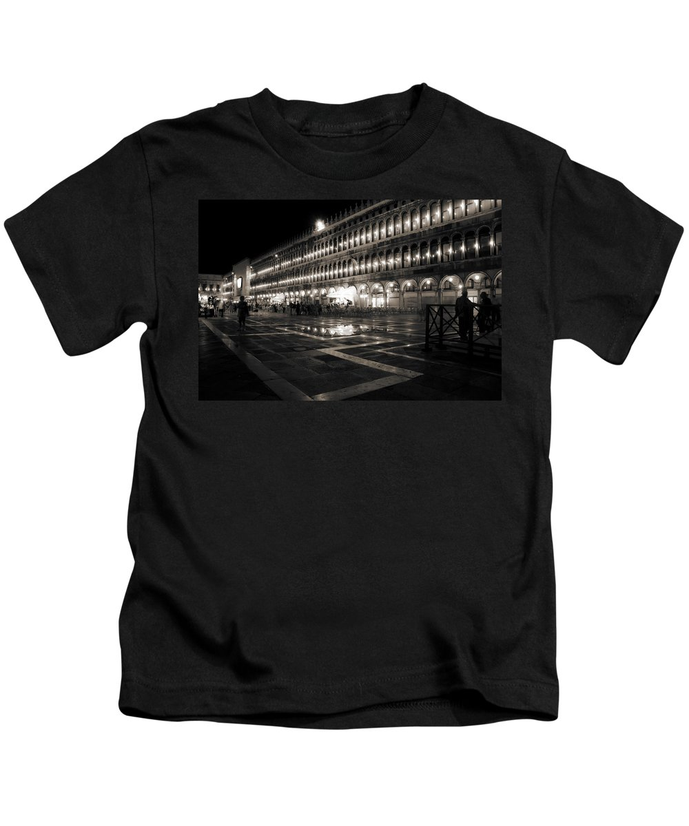 Venice Kids T-Shirt featuring the photograph Piazza San Marco At Night Venice by Beth Riser