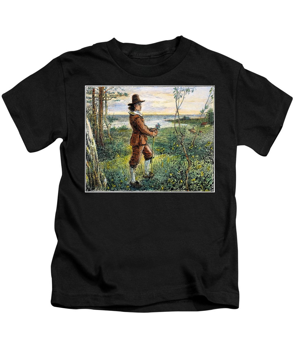 1620s Kids T-Shirt featuring the photograph Pilgrim, 1620s by Granger