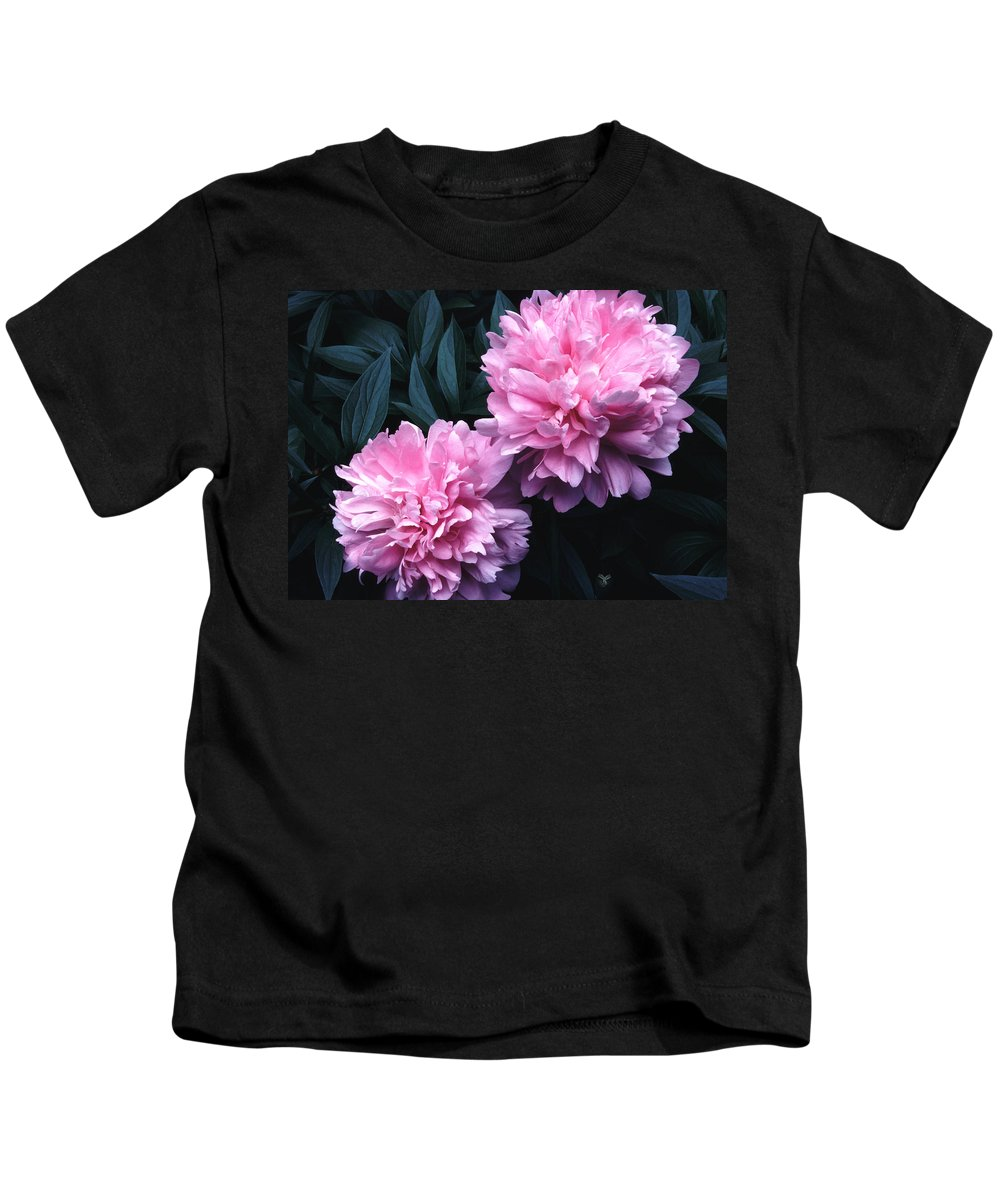Flowers Kids T-Shirt featuring the photograph Pink Peony Pair by Tom Wurl