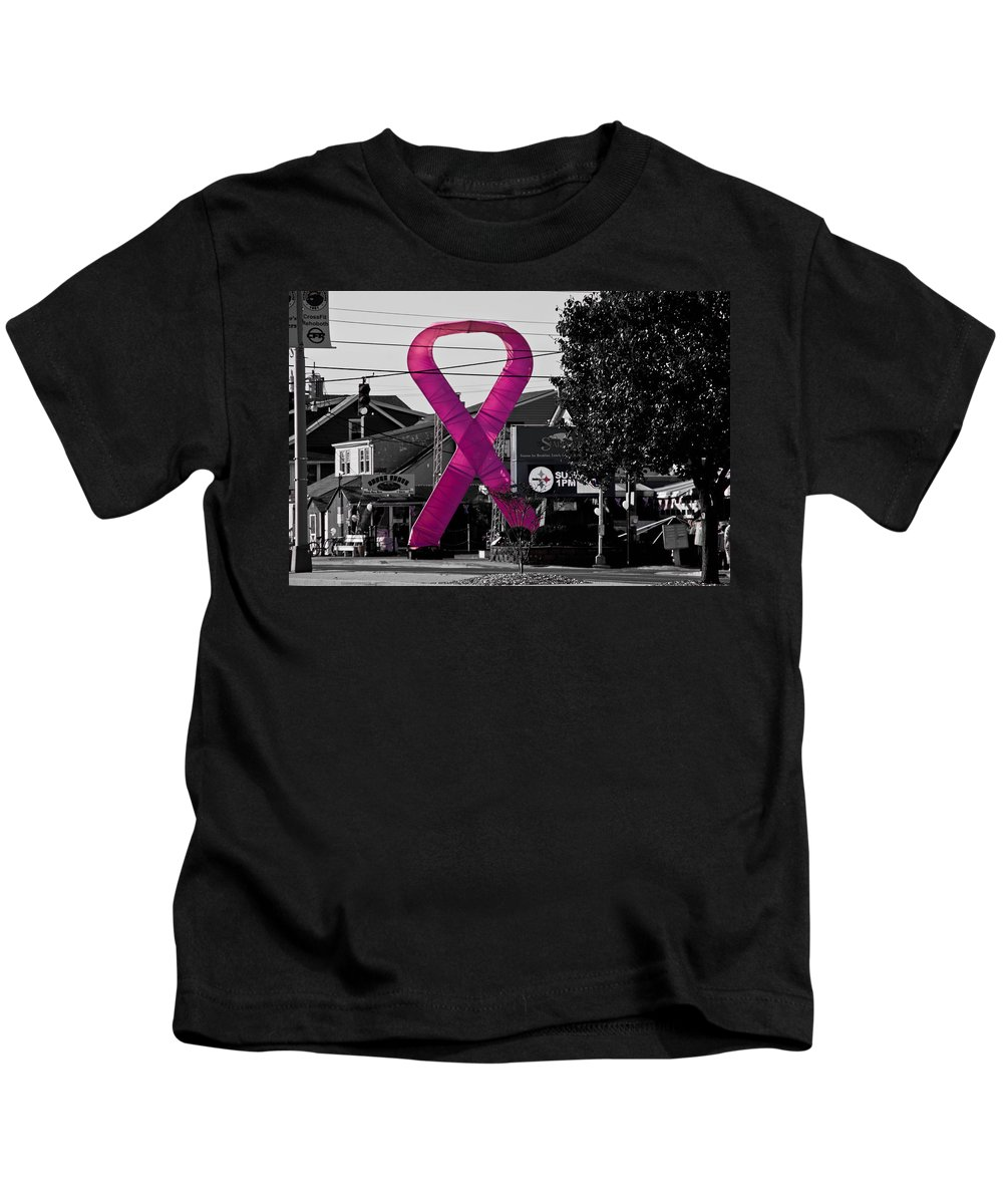 Pink Kids T-Shirt featuring the photograph Pink Ribbon For Breast Cancer Awareness by Trish Tritz
