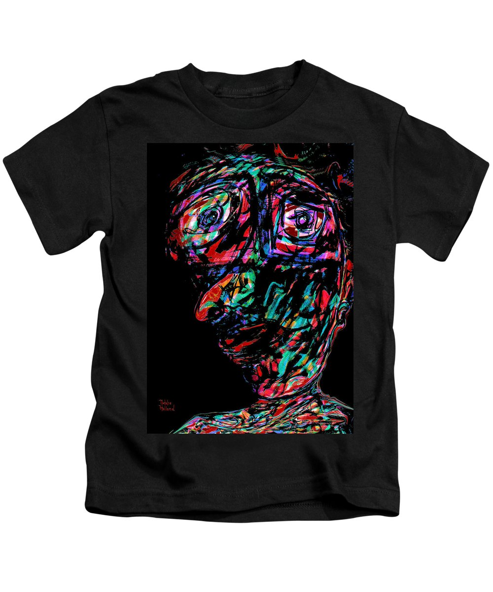 Expressionism Kids T-Shirt featuring the mixed media Pinocchio by Natalie Holland