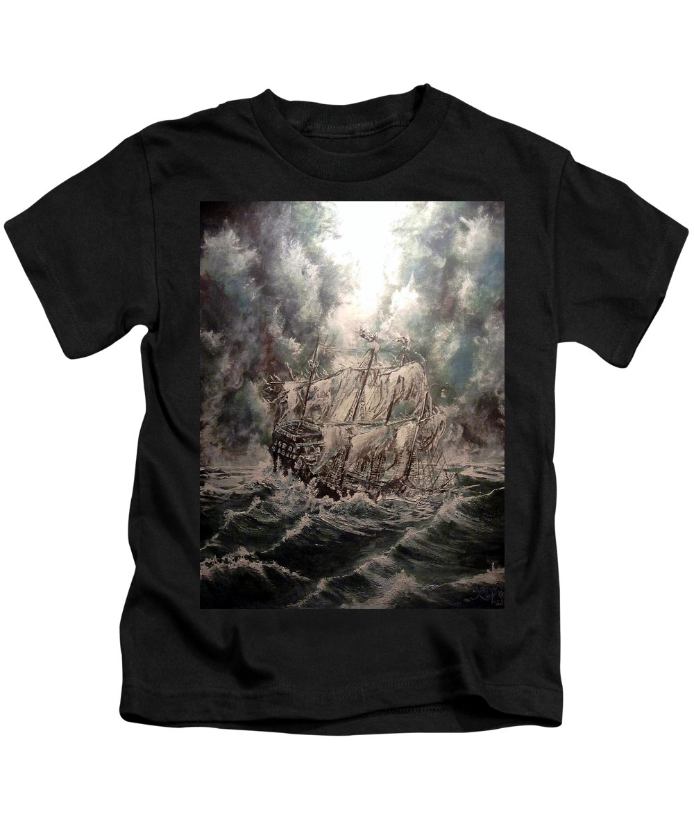 Seascape Kids T-Shirt featuring the painting Pirate Islands 2 by Robert Tarrant