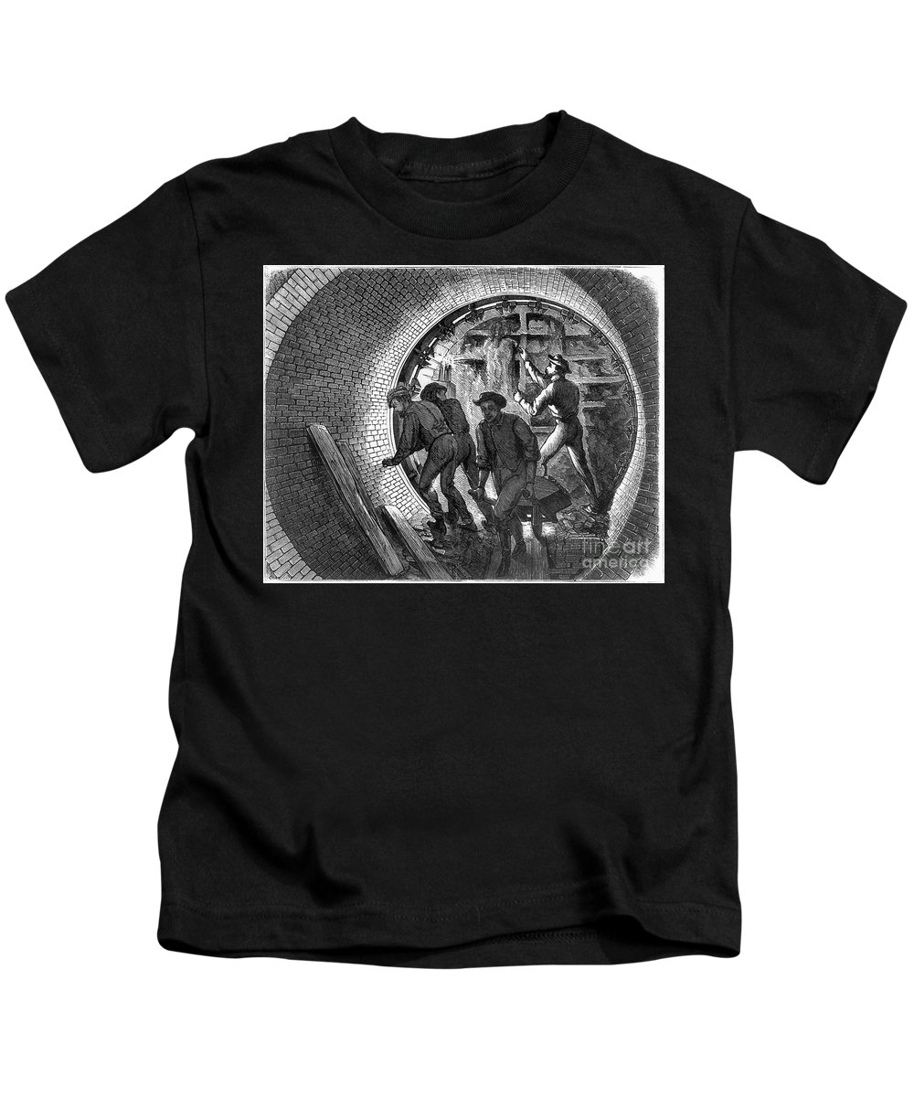 1870 Kids T-Shirt featuring the photograph Pneumatic Transit, 1870 by Granger