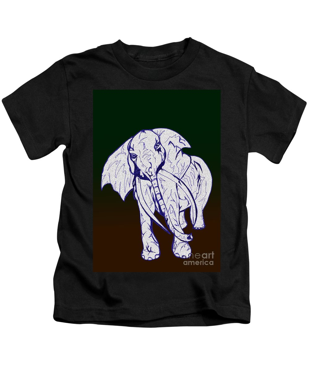 Abstract Kids T-Shirt featuring the drawing Pointillism Elephant by Mary Mikawoz