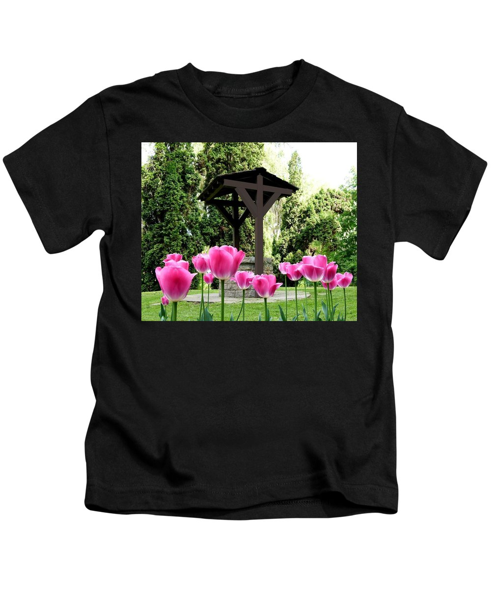 Covered Well Kids T-Shirt featuring the photograph Polson Park Well by Will Borden
