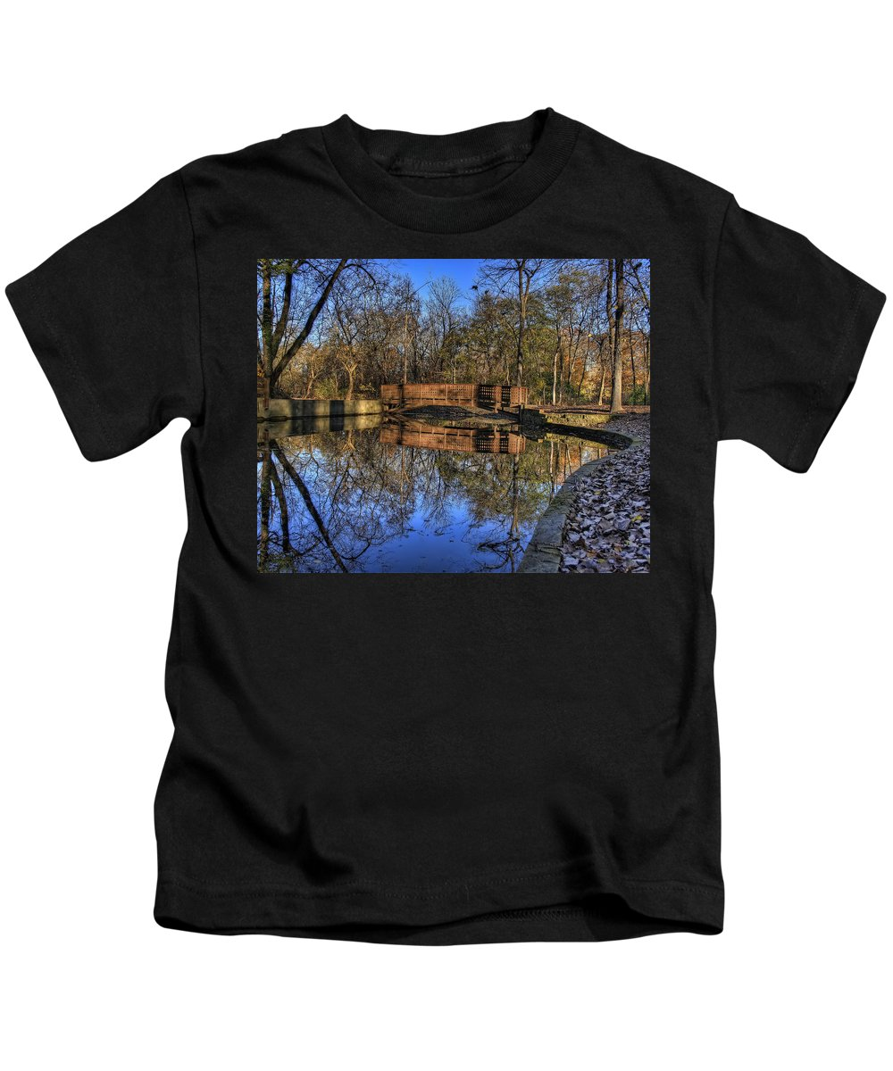 Bridge Kids T-Shirt featuring the photograph Pond Reflections by Scott Wood