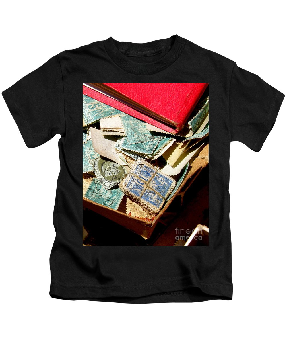 Postage Kids T-Shirt featuring the photograph Postage Stamps by Lainie Wrightson