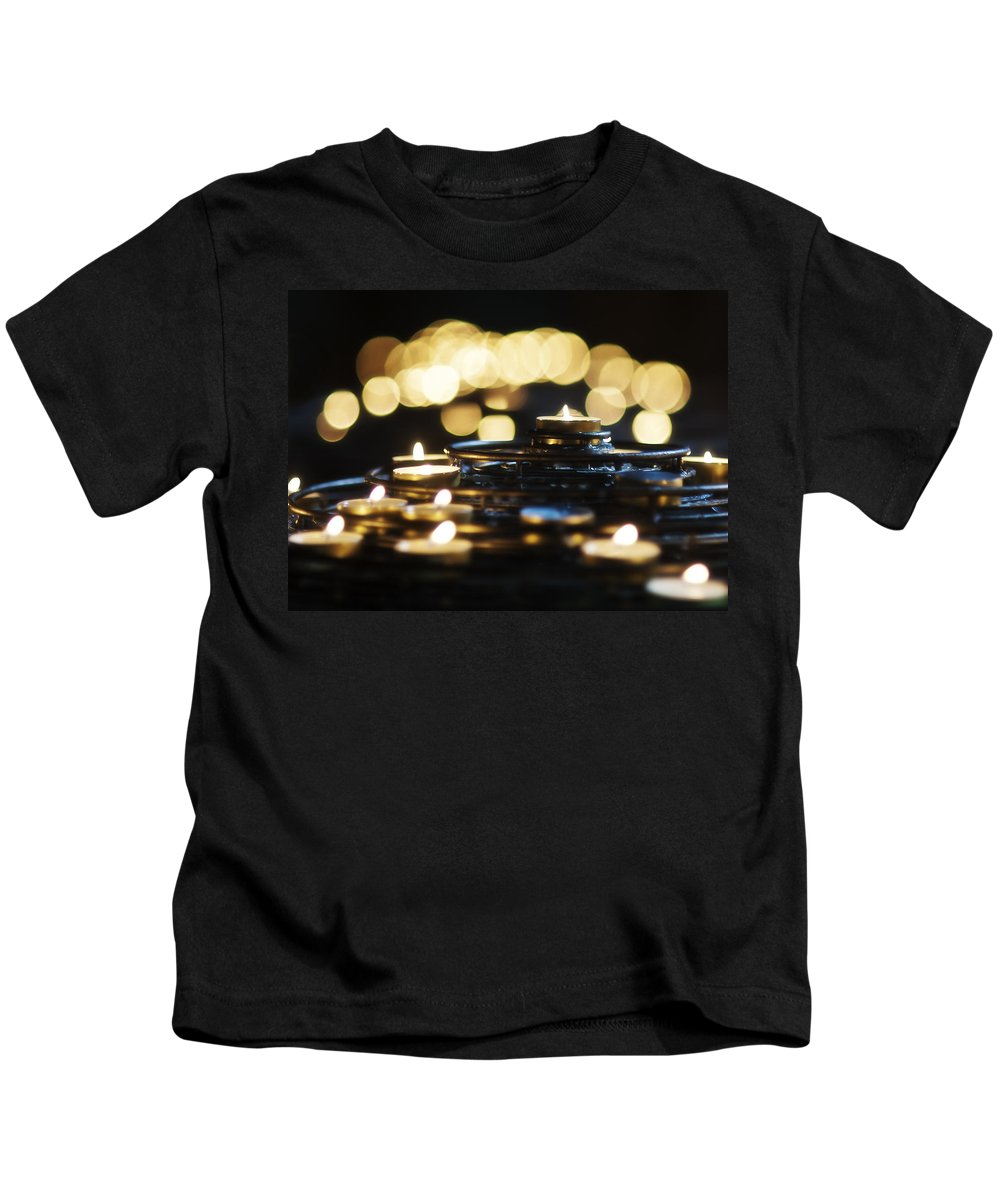 Candles Kids T-Shirt featuring the photograph Prayer Candles by Beth Riser