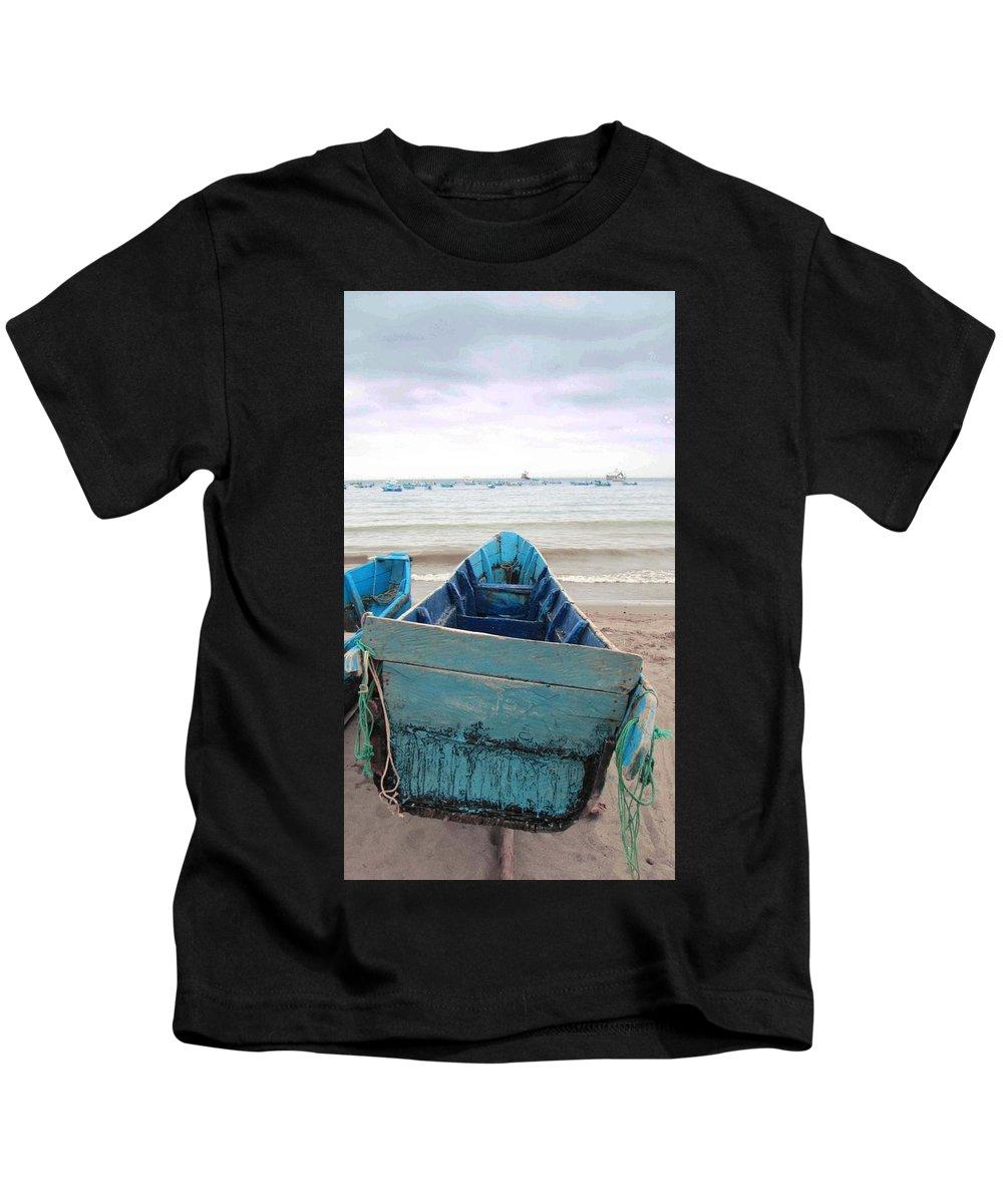 Ecuador Kids T-Shirt featuring the photograph Pretty Blue Boat by Dori Basilius