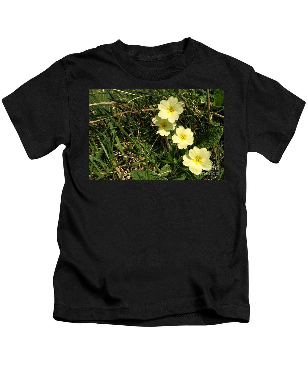 Primrose Kids T-Shirt featuring the photograph Primrose by Rob Hawkins