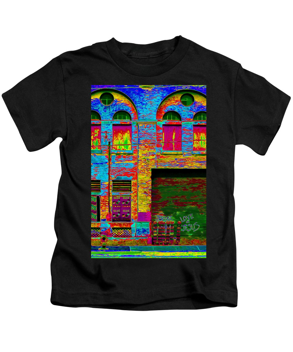 Victorian Industrial Architecture Kids T-Shirt featuring the photograph Psychadelic Architecture by Andrew Fare