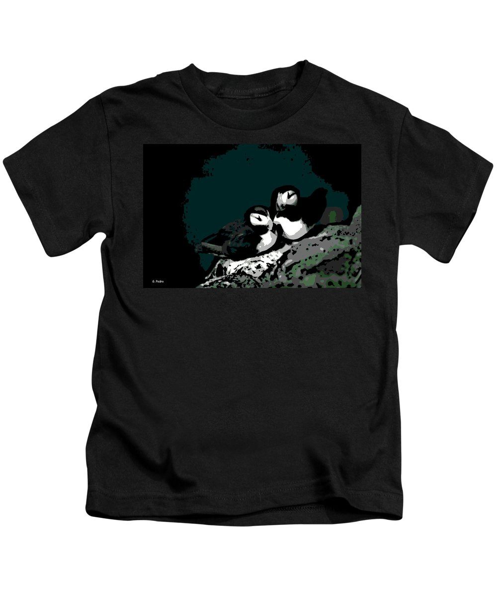 Puffin Kids T-Shirt featuring the photograph Puffin Love by George Pedro