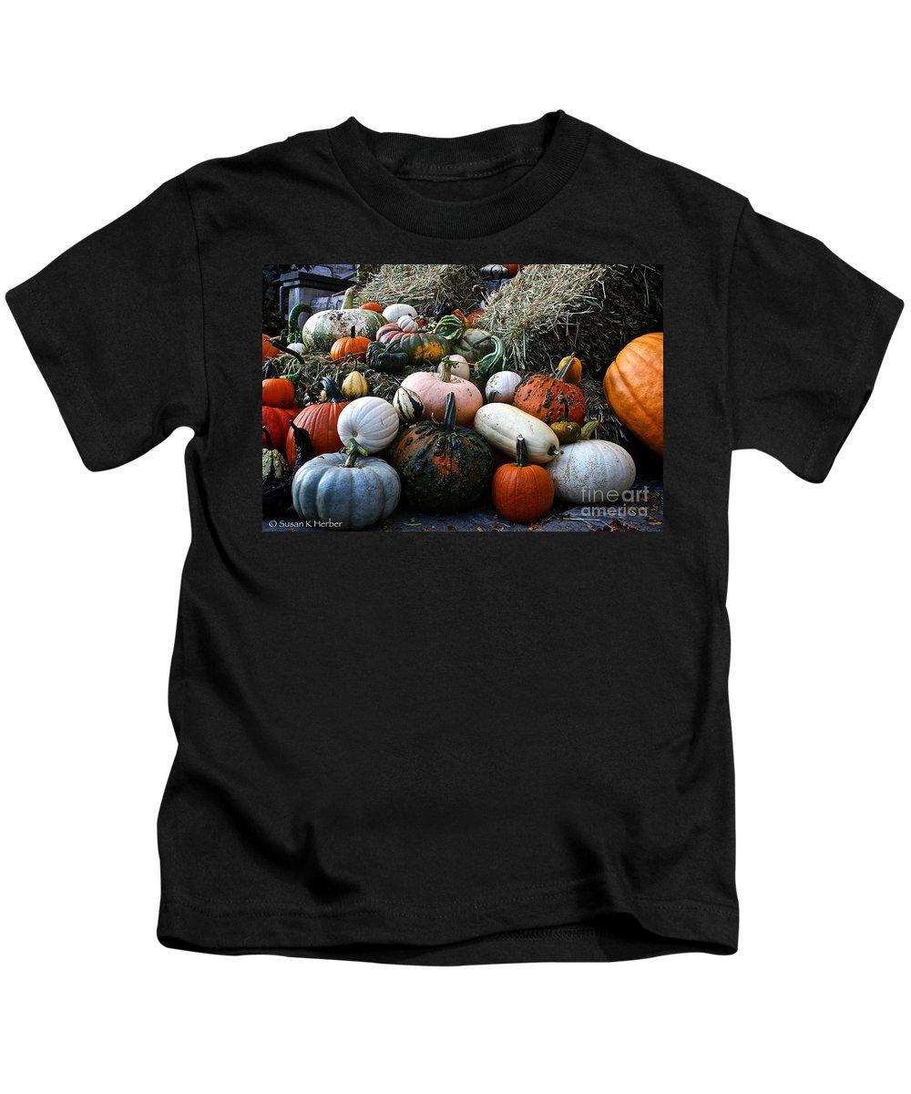 Outdoors Kids T-Shirt featuring the photograph Pumpkin Piles by Susan Herber