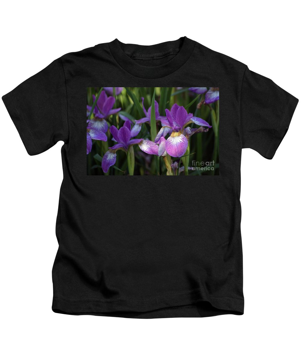 Flowers Kids T-Shirt featuring the photograph Purple Irises by Living Color Photography Lorraine Lynch