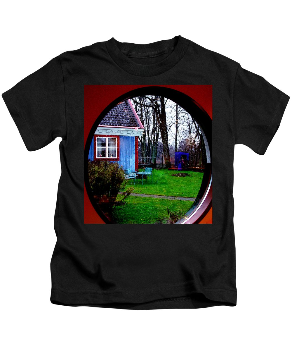 Colette Kids T-Shirt featuring the photograph Rain Drops Through Window by Colette V Hera Guggenheim