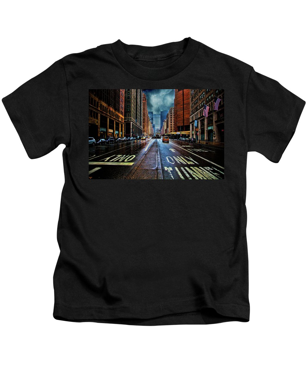 New York Kids T-Shirt featuring the photograph Rain On Park Avenue by Chris Lord