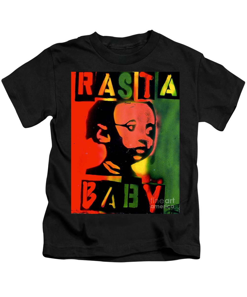 Hip Hop Kids T-Shirt featuring the painting Rasta Baby by Tony B Conscious