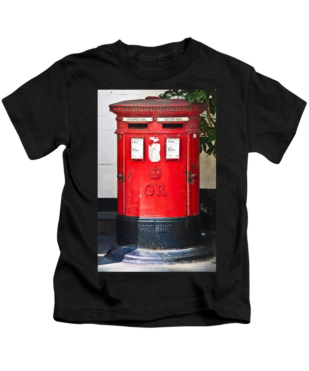 Red Post Box Kids T-Shirt featuring the photograph Red Post Box by Dawn OConnor