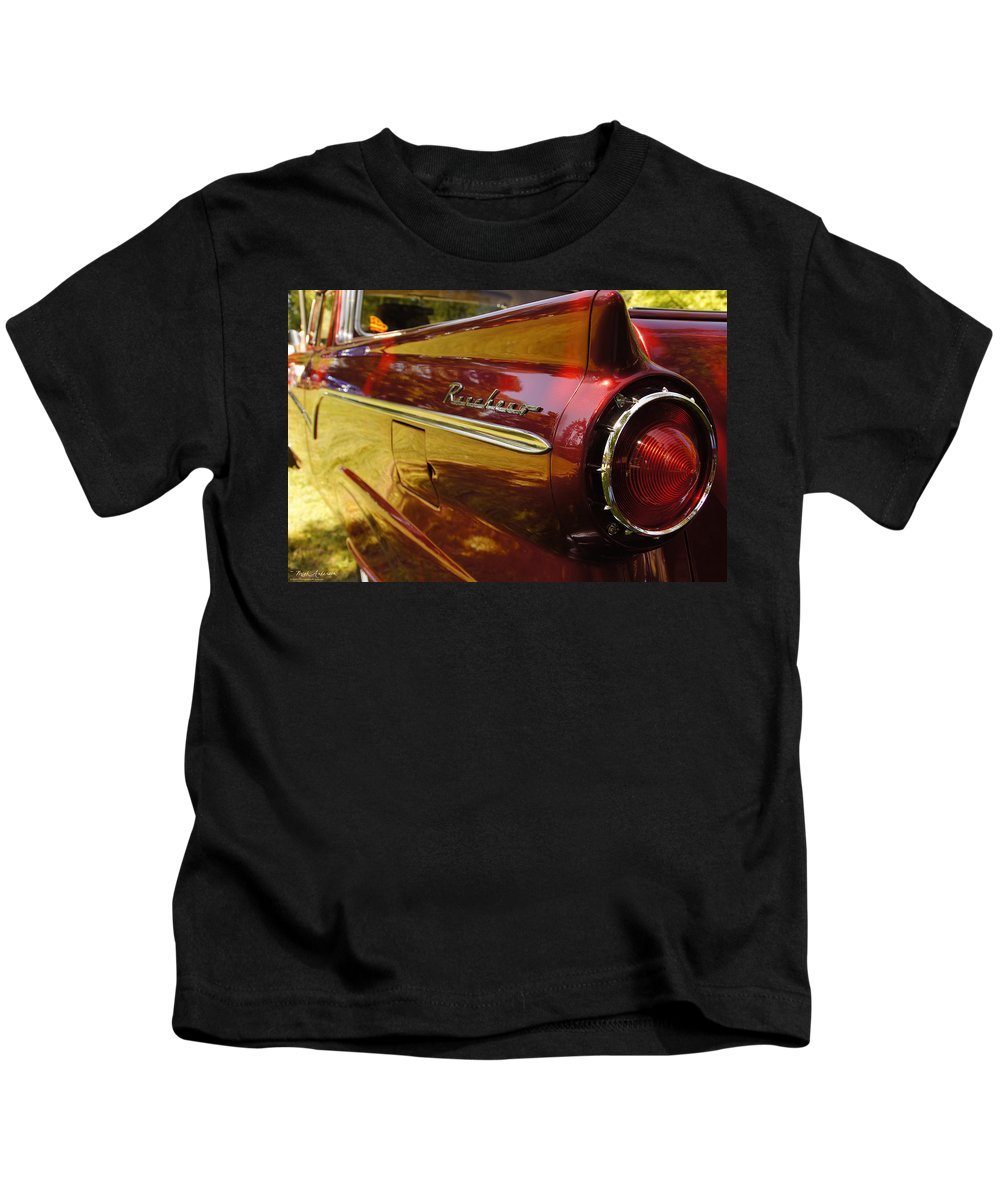 Red Kids T-Shirt featuring the photograph Red Ranchero And Round Taillight by Mick Anderson