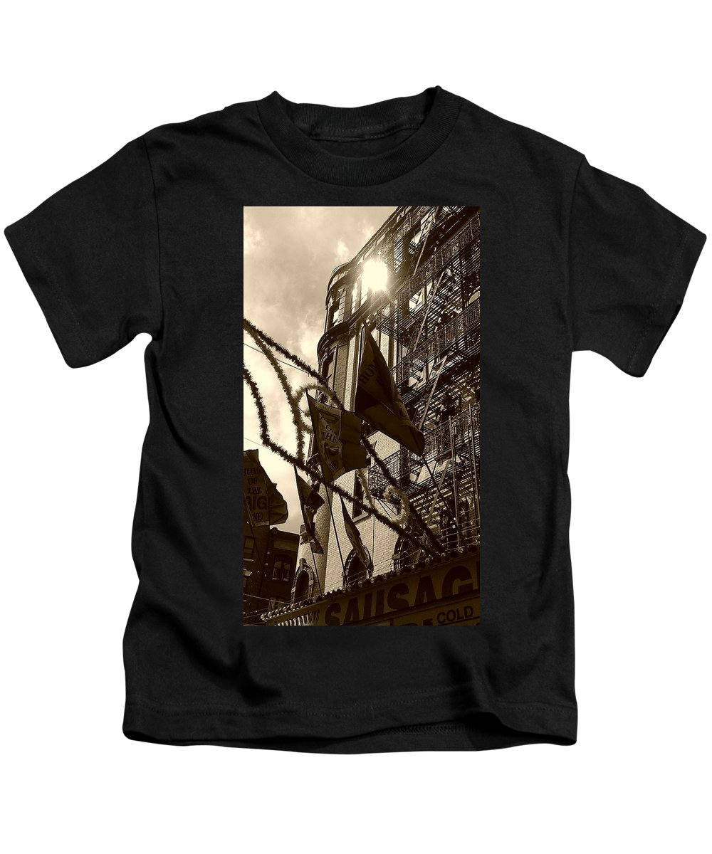 Feast Of San Gennaro Kids T-Shirt featuring the photograph Reflecting In Little Italy by Catie Canetti