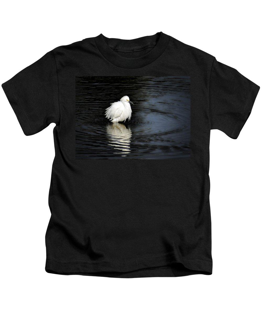 Snowy Egret Kids T-Shirt featuring the photograph Reflections Of An Egret by Saija Lehtonen