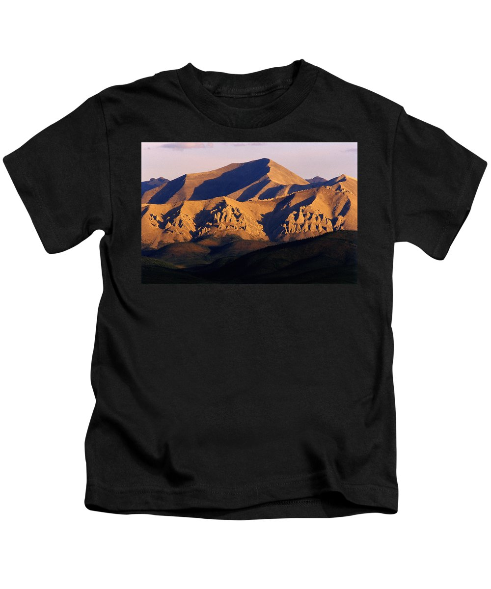 Color Images Kids T-Shirt featuring the photograph Richardson Mountains, Dempster Highway by Mike Grandmailson