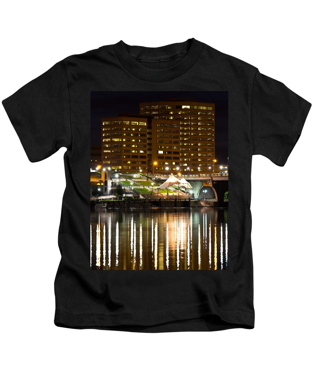 Ct River Kids T-Shirt featuring the photograph River Front At Night by Frank Pietlock