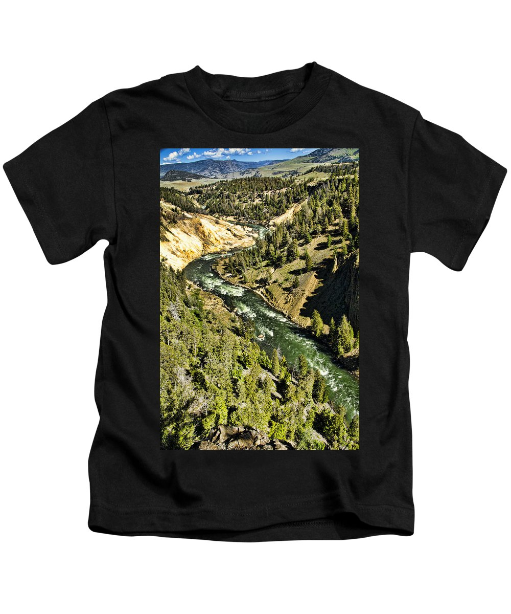Yellowstone National Park Kids T-Shirt featuring the photograph River View by Jon Berghoff