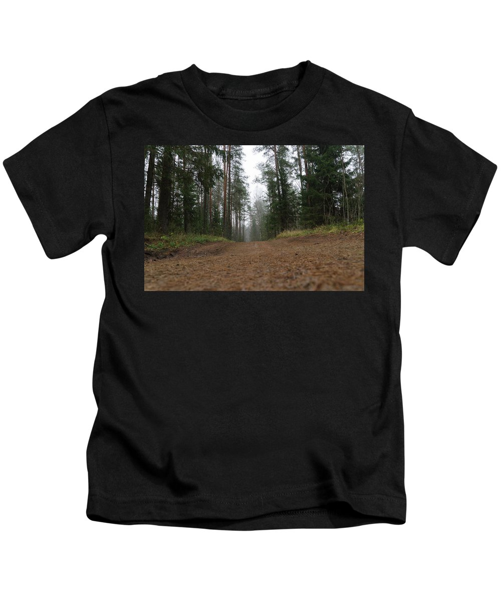 Autumn Kids T-Shirt featuring the photograph Road In A Pine Grove by Michael Goyberg