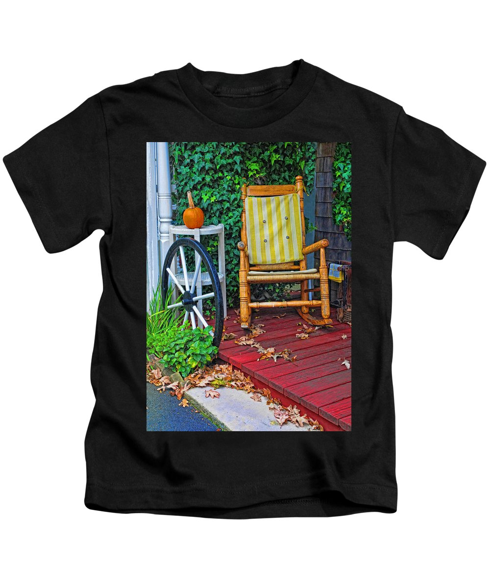 Rocking Chair Kids T-Shirt featuring the photograph Rocking In Autumn by Dave Mills