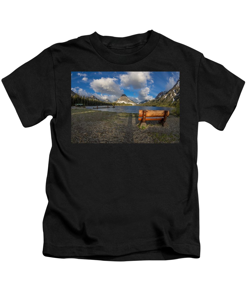 Two Medicine Lake Kids T-Shirt featuring the photograph Room To View by Greg Nyquist