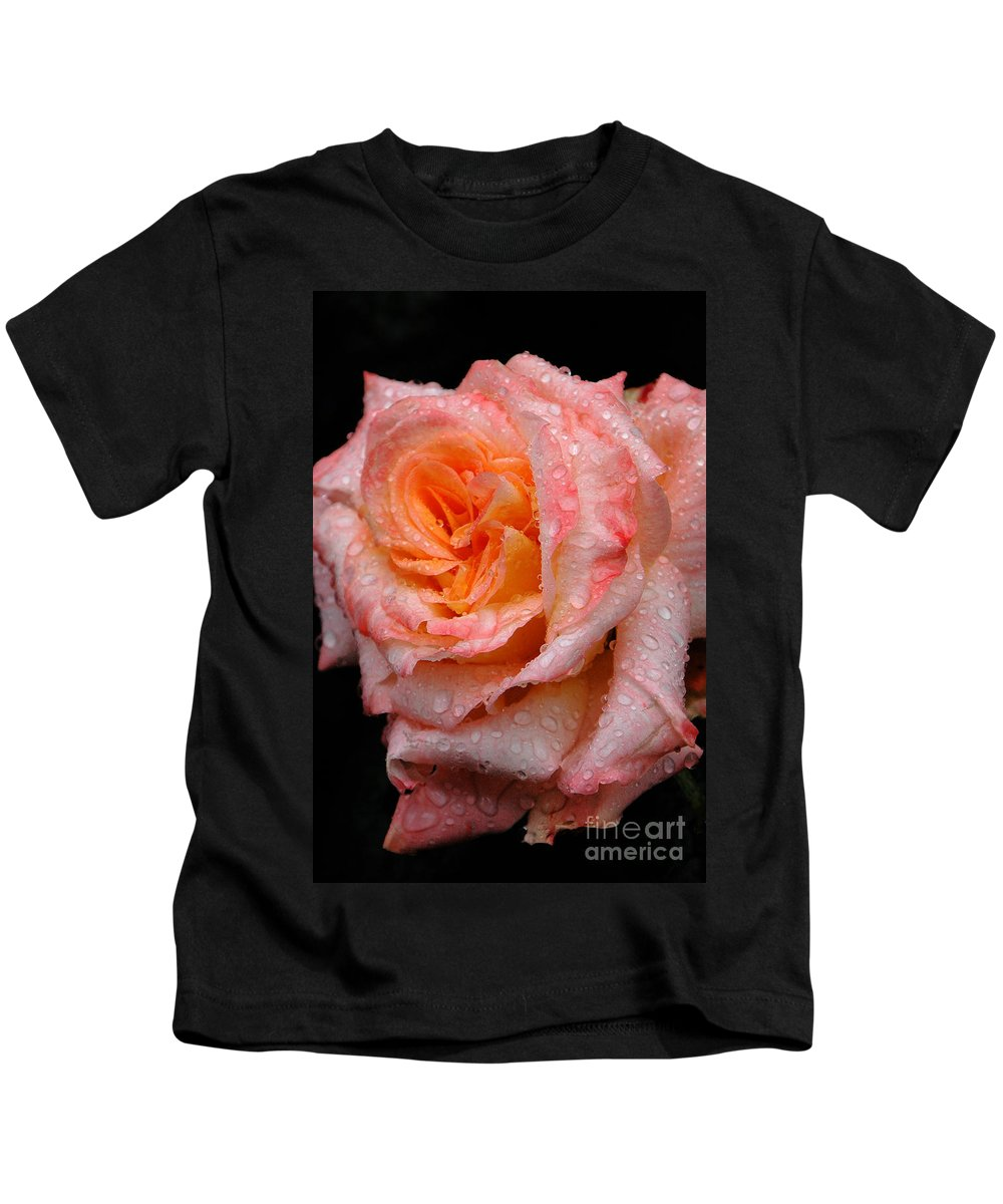Rose Kids T-Shirt featuring the photograph Rose And Raindrops On Black by Mike Nellums